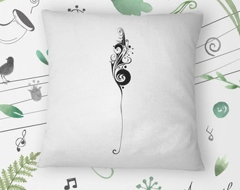 Treble Clef on Hand-sewn Organic Cotton Throw Pillow Cover / Cushion Cover in White, 16x16 inch (40x40 cm)