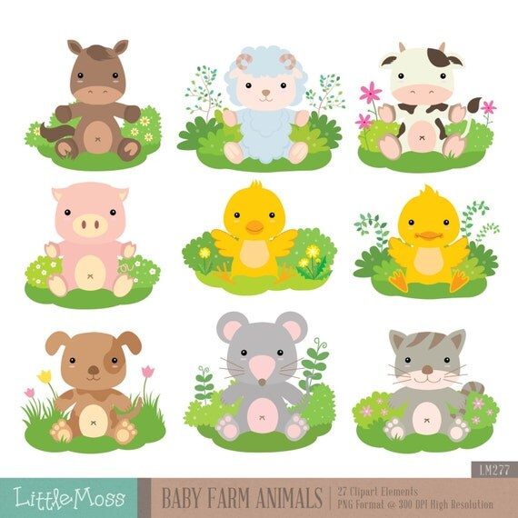 Baby Farm Animals Digital Clipart