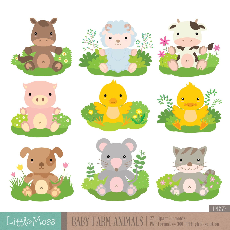 Baby Farm Animals Clip Art baby farm animals digital clipart from littlemoss on etsy studio