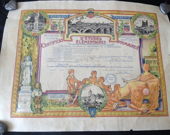 Antique image. primary school certificate