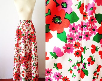 Vintage 70s Skirt | 70s High Waisted | Hippie Maxi Skirt | Vintage Floral Pleated A-Line Skirt | High Waisted Skirt Hippie | Medium M