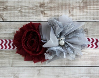 Texas Aggie baby headband, A&M maroon and white headband, burgundy headband