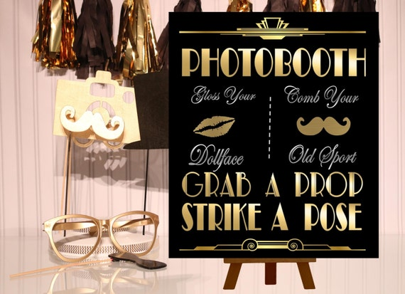 PRINTABLE Photobooth sign*Gatsby party decoration* 3 Sizes Included, Roaring 20s Art deco*Wedding photobooth sign*Grab a prop and Str