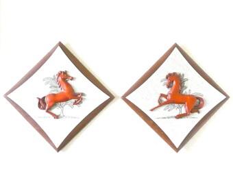 Mid Century Burwood Products Co Diamond Shaped Plaques with Orange Horses-Set of 2