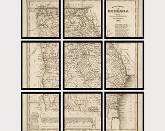 Georgia Vintage Map - Set of 9 Prints - Historic Map