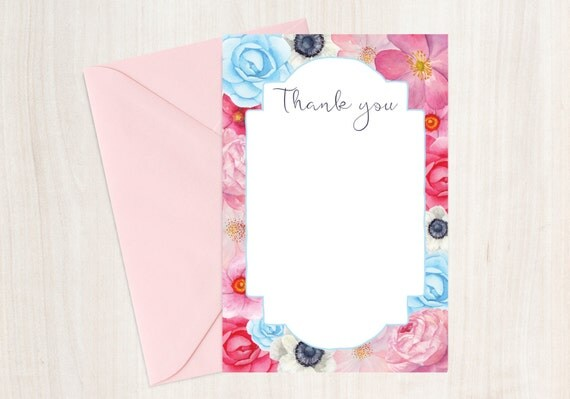 Floral Thank You Card - Instant download - Printable - 6x4 PDF JPG - can be used for a wedding, birthday, baby shower or just because!