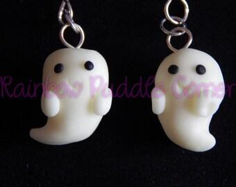 White Ghost Earrings, Boo, halloween, glow in the dark polymer clay