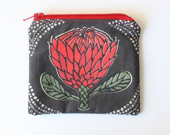 Taupe and red Protea flower handmade zipper coin purse