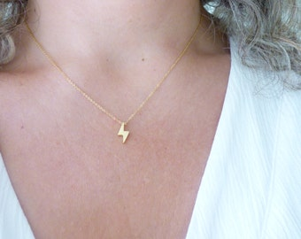 Tiny Lightning Bolt Necklace,Dainty Gold Filled Necklace,Delicate Ultra Thin Choker Necklace,Simple Everyday Necklace,Minimal Modern Jewelry