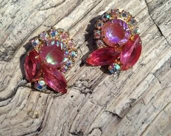 Juliana D&E Pink Flying Saucer Rhinestone Earrings - Book Piece