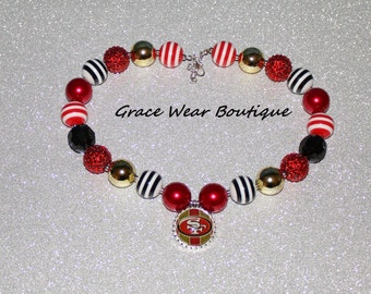 Women's San Francisco 49ers Sterling Silver with Austrian Crystals Necklace