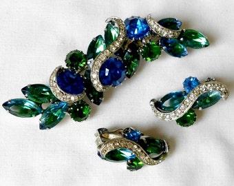 Vintage Kramer Blue Green Wide Brooch/Pin and Earrings Set