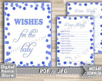 Printable Wishes For Baby Boy in Blue Dots - Wishes For Baby Cards and Sign in Blue Polka Dots for Baby Shower - Instant Download - bd2