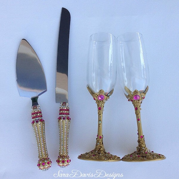 Flute Set Gold Toasting Flutes Medieval Wedding Wedding Cake Server