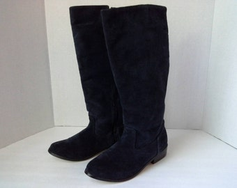 1980s Boots, Blue Suede Boots, 80s Boots, Navy Suede Boots, Navy Leather Boots, Vintage Boots, Leather Riding Boots, 6.5 Boots, Navy Boots