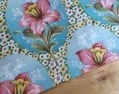 Amy Butler fabric by the half yard or fat quarter, Coral & aqua fabric, floral cameo fabric, floral cotton fabric, OOP quilt fabric yardage