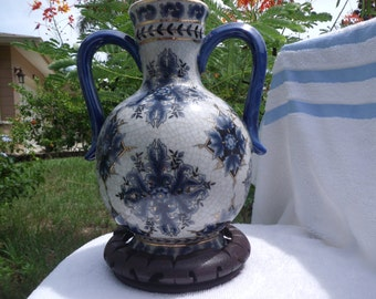 Ceramic Hand Painted Greek Style Water Jar with Wooden Support Stand