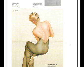 """Alberto Vargas """"Lament For A Pin-Up Pip"""" Dbl Sided Vintage Pinup Illustration Sexy Nude Pinup Mature Wall Art Deco Book Print 9"""" x 12"""""""