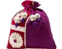 JaipurSe Indian Ethnic Gota Patti Purple Silk Wedding Party Drawstring Potli Pouch Bag (JSBG75)