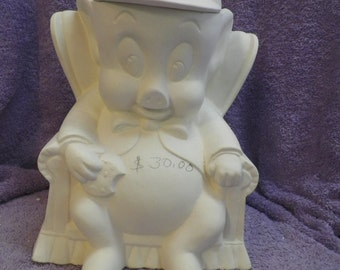 Porky the Pig Cookie Jar - Bisque (Ready to Paint)