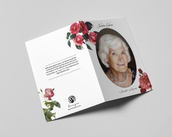 Personalized Memorial Card Red Roses (A5 Booklet)