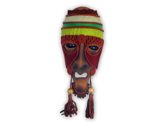 Handmade Ceramic Mask, Leather Mask, Wooden Eyes, Leather and Wooden Earrings, Coloured Leather Art, Home Decor, Wall Decor, Wall Hanging