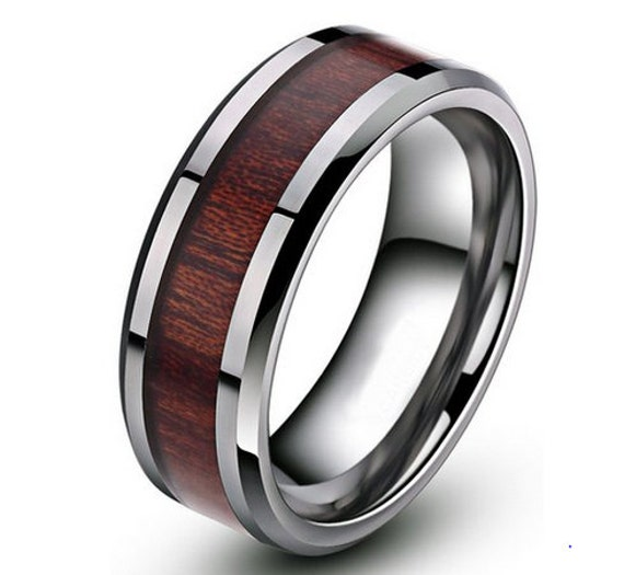 Custom wood titanium 8mm wedding band hunting by for Fishing wedding band