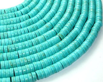 Howlite Turquoise Beads, Heishi, 3 x 8mm, 16 Inch, Full strand, Approx 117 beads, Hole 1 mm (213041001)
