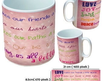 Custom inspirational quote picture mugs cup as a special personalised gift for a friend