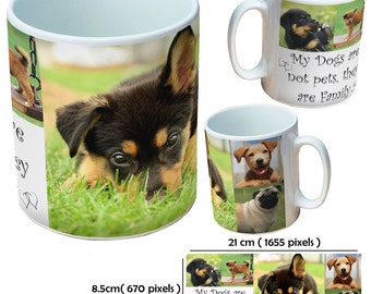 Custom dogs picture mugs cup as a special personalised gift for a dog lover