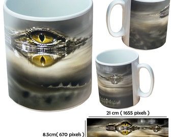 Custom animal crocodile picture mugs cup as a special personalised gift for an animal reptile lover for all occasions