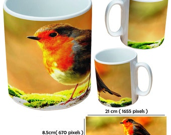 Custom robin2 picture mugs cup for all occassions for a bird lover special gift at Christmas time