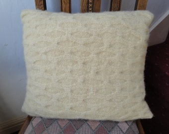 yellow cushion cover, felted pillow cover, wool knit cushion, butter yellow pillow,felted knit cushion cover,yellow felted wool pillow cover