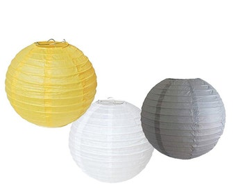 """Set of 6 Mixed 8"""" Gray Yellow White Round Paper Lantern Lampshade for Wedding Birthday Baby Shower Party Hanging Decoration"""