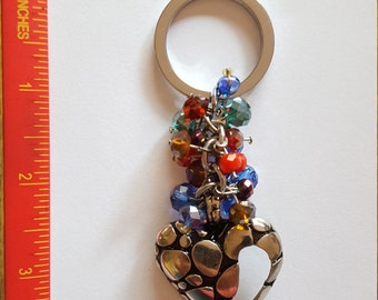 Handmade key chain with crystal beads and heart charm