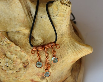 Unique Hand Made Copper Wire and Aqua Glass Bead Pendant
