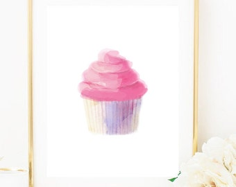 Cupcake Painting, Cupcake Print, Kitchen Art, Kitchen Print, Food Art, Food Print