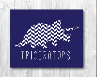 Triceratops Patterned Silhouette Dinosaur Print/wall art