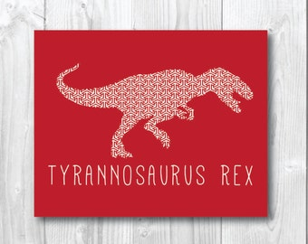 T-Rex Patterned silhouette dinosaur print/wall art