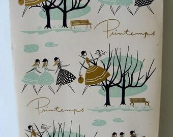 25% Off Vintage 1960's Printemps Ivory Paper Stationery Set