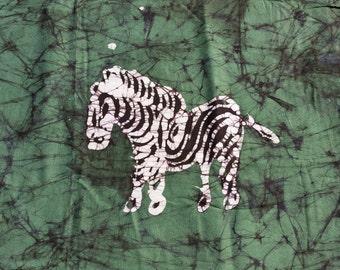"Genuine Wax Batik Cotton Fabric - Green, White and Black ZebraPrint - Handmade - 42"" Wide by 3 3/4 Yards - New"