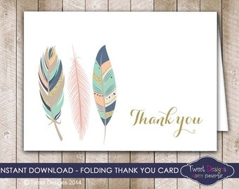 Feather Thank you Card, Tribal Feather Thank you Card, Baby Shower Thank you, Tribal Thank you Card, Instant Download Thank you Card