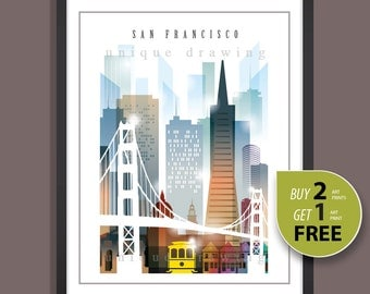 San Francisco, San Francisco landmarks, San Francisco skyline, San Francisco painting. art print, city of San Francisco, wall art deco, 4115