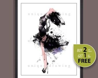 Fashion poster, fashion illustration, fashion print, fashion wall art, fashion art print, dress painting, dress poster, home decor, 3236