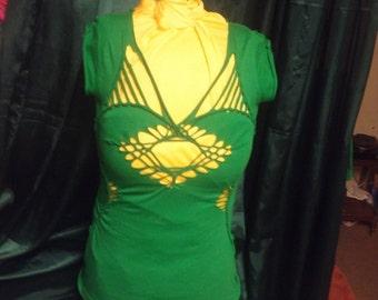 Slashed cut up weaved green tshirt with FREE matching macrame wrist cuff bracelet