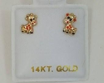 14k giraffe earrings