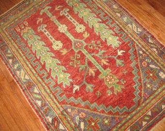 Vintage Turkish Oushak Prayer Rug Size 3'8''x5'2''