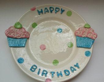 Happy Birthday Cupcake Plate, Happy Birthday,  Cupcake Plate, Sweet Plate, Your Special Day Plate
