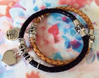 Leather bracelet with silver charm - charm bracelet - beach boho jewelry - layered bracelet - womans leather jewelry handmade by rubybluejew