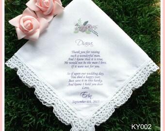 Mother of the Groom Handkerchief-Purple Floral-Wedding Hankerchief-PRINTED-CUSTOMIZED-Wedding Hankies-Mother of the groom gift-handkerchief
